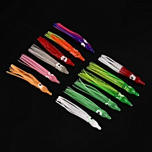 12Pcs Octopus Squid Baits Fishing Lures Catch Hooks Silicon Glow In Dark Random