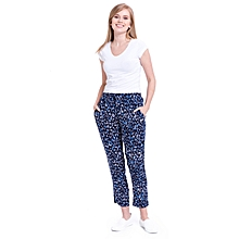 Navy Blue Floral Fashionable High Waist Large Trousers