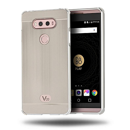 For LG V20, Metal Bumper And Wire Drawing PC Back Cover Protector Case For  LG V20