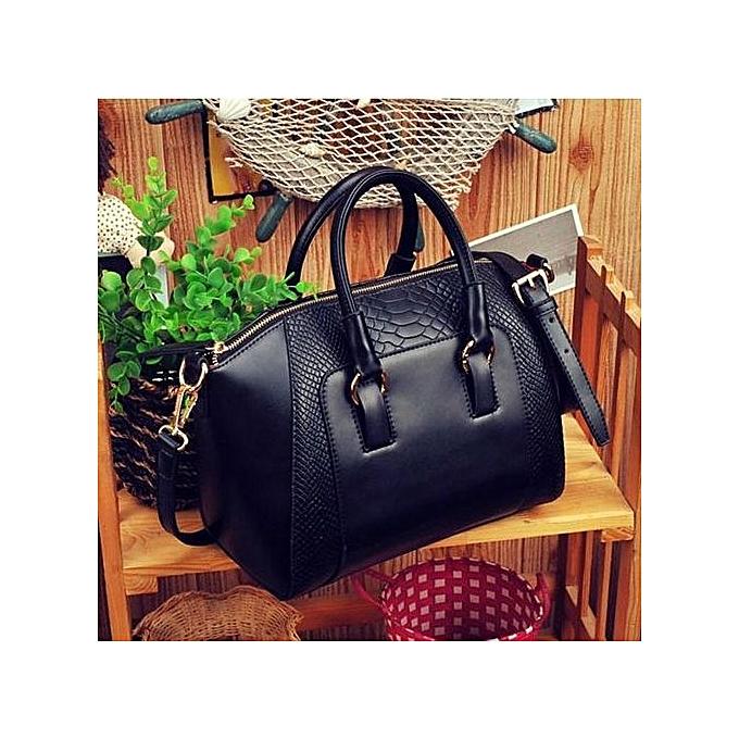 bluerdream-Women Shoulder Bag Faux Leather Satchel Cross Body Tote Handbag Black-Black