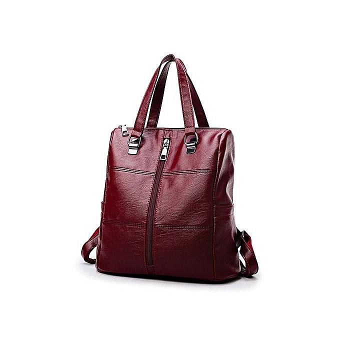 cd965127ac26 ... Zetenis Vintage Girl Leather School Bag Backpack Satchel Women Travel  Shoulder Bag -Red