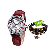 Red Women's Watch With Silver Dial +FREE Bracelet