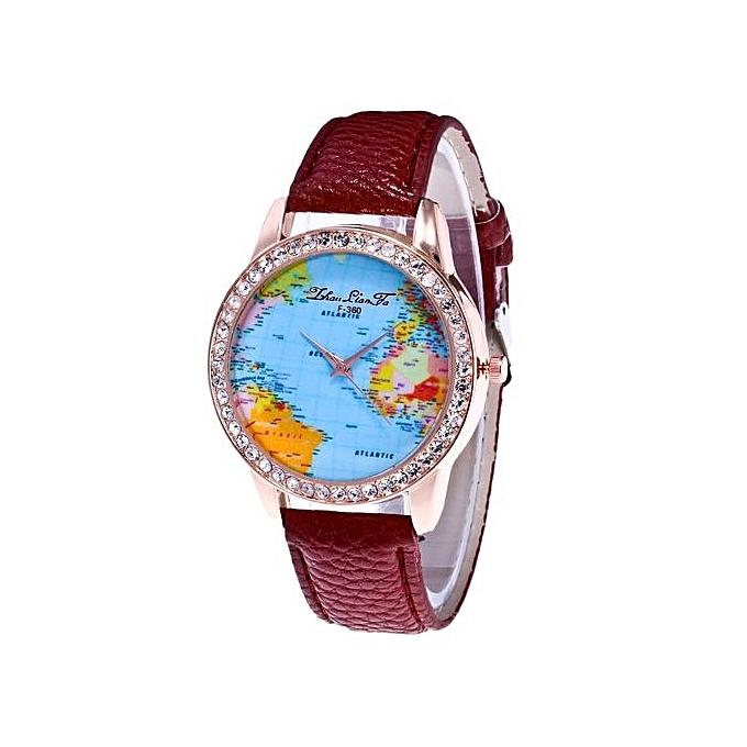 Buy universal gorgeous women world map quartz leather analog wrist gorgeous women world map quartz leather analog wrist watch round case watch multi gumiabroncs Gallery