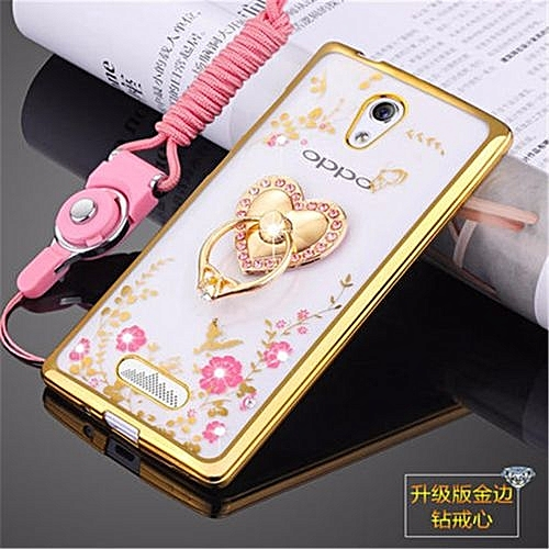 Rhinestone Phone Case Cover Holder Stand Protective Ultra-thin Silicone Soft Case For Oppo R2001
