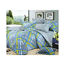 4PC - Checked Livid Quiltcover Set- 3 x 6 - Grey & Blue
