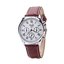 Blicool Wrist Watch  Men General Business Leather Strap Quartz Watch  -brown
