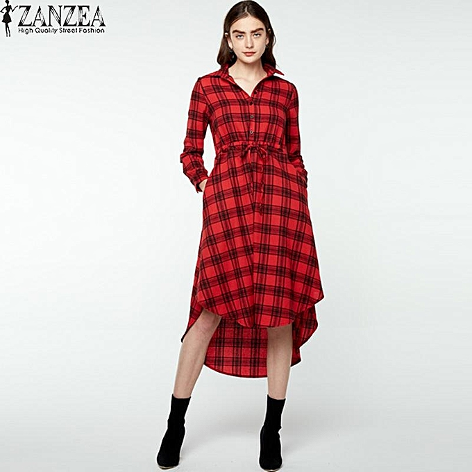 0facacc673a443 ZANZEA Asymmetric Hem Plaid Shirt Dress Women Lapel Long Sleeve Check Midi  Dress Red