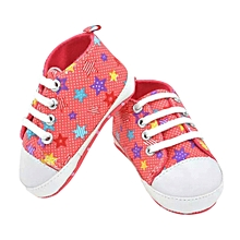 Toddler Baby Shoes Star Print Sneaker Anti-slip Soft Sole Toddler Canvas Shoes- Hot Pink