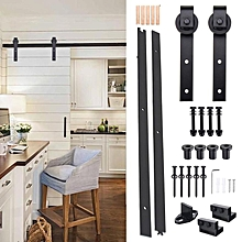 6 Ft Black Antique Style Steel Sliding Barn Wood Door Closet Hardware Track Set
