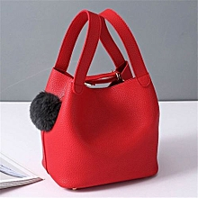 bluerdream-Women Bag Hairball Pure Color Handbags Cansual Bags-Red