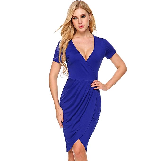 Women s Deep V-Neck Short Sleeve Faux Wrap Split Bodycon Dress ( Blue ) ... 6adc64ec6