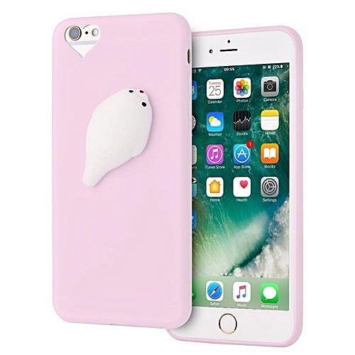 hot sale online 0ab94 315fe Soft TPU Squishy 3D Cartoon Animal Phone Case Proctive Cover For IPhone 6 /  6S Plus (Pink Seal)
