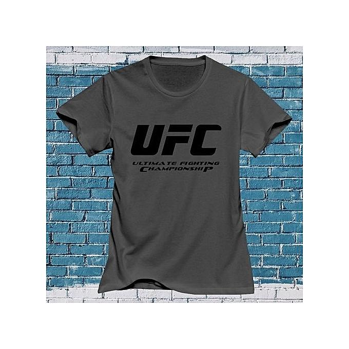 32a9d219 Men Casual Cotton T Shirts Ufc Logo Summer Fashion Round Neck Tops Grey  Size S-