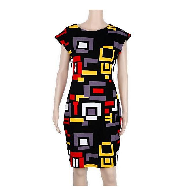 e54b332f paidndh store Sexy Women Slim Summer Geometric Printed Short Sleeve Dress -Multicolor