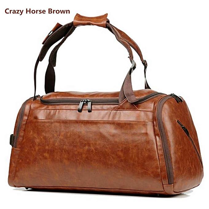 addcb60a1 Multifunctional Leather Men Women Luggage Travel Bag Large Capacity Duffle  Bag Satchel Shoulder Gym Sports Handbag