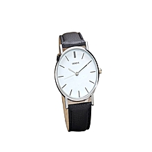 New Womens Retro Design Leather Band Analog Alloy Quartz Wrist Watch-Black