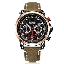 2085 Watch Men Sport Chronograph Leather Strap Quartz Movement Watch Waterproof Casual Clock Wristwatch for Male