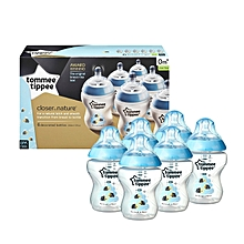 Closer To Nature Decorated Blue Bees Boy Baby Bottles - 6 Bottles