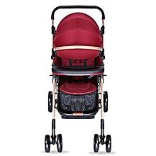 Unisex Brake System Baby Stroller - Wine Red