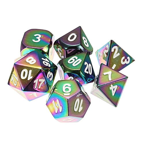 7pcsset Rainbow Metal Polyhedral Dice Bag Dnd Rpg Mtg Role Playing Board Game