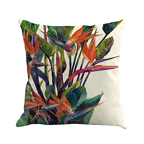 Tropical plant leaves foreign trade custom cotton and linen pillow pillowcase car sofa cushion