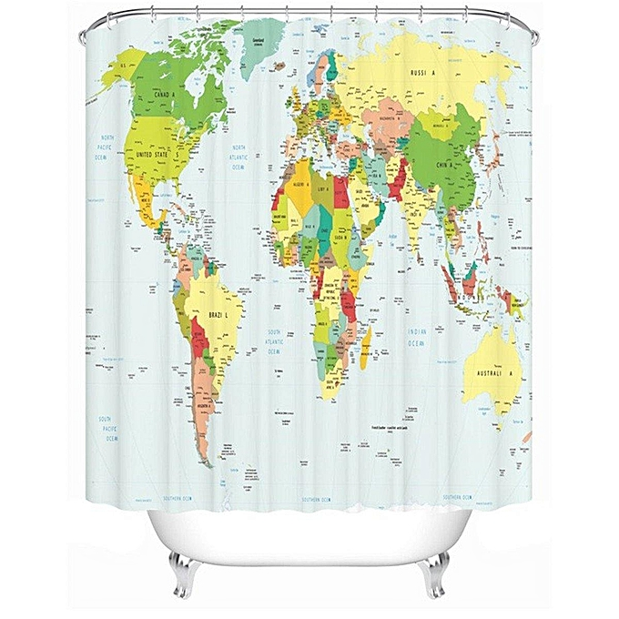 180X180cm Polyester World Map Bathroom Bath Waterproof Fabric Shower Curtain Set