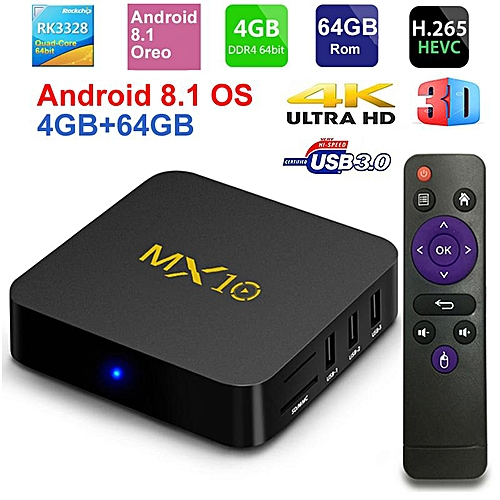 MX10 Smart TV BOX Android 8 1 Rockchip RK3328 DDR4 4GB Ram 64GB Rom IPTV  Smart Set-top Box 4K USB 3 0 HDR H 265 Media Player Box (4G-64G) YCMI-A