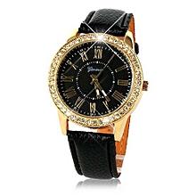 Bling Gold Crystal Women Luxury Leather Strap Quartz Wrist Watch Black