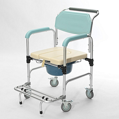 Generic 3-in-1 Commode Wheelchair Bedside Toilet & Shower Chair Bathroom Rolling Chair