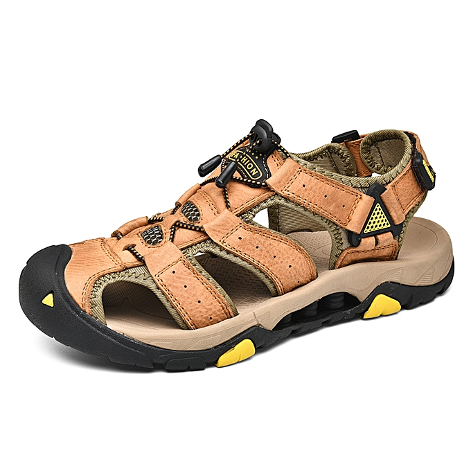 bf783ffd0f39 SocNoDn Men Fashion Casual Male Hiking Sandals Summer Shoes Brown ...