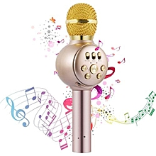 Wireless Karaoke Microphone, Professional Portable Bluetooth Handheld Microphone Home Party Birthday Speaker Machine For Singing Recording For IPhone/Android/iPad, PC( Gold)