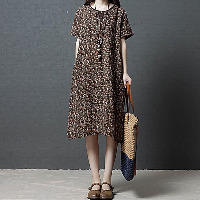 d920df043ba7 New Women Dress Floral Print O Neck Short Sleeve Button Pockets Loose Beach  Maxi Summer Linen
