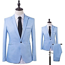 Men Slim Fit Business Leisure One Button Formal Two-Piece Suit for Groom Wedding-Sky Blue