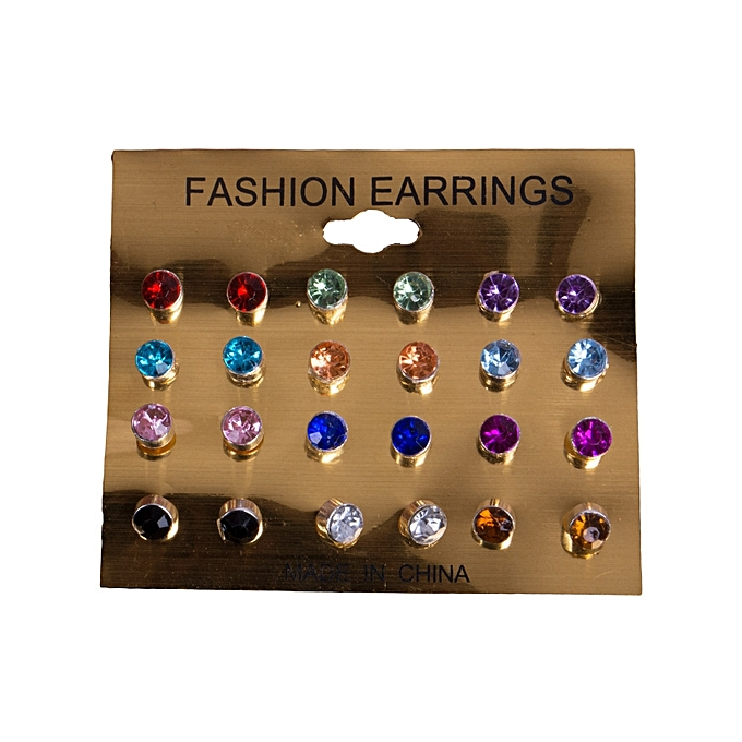12 Pairs Multicolor Faux Diamond Stud Earrings