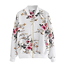 husksp Womens Retro Floral Printing Zipper Up Bomber Jacket Casual Coat Outwear