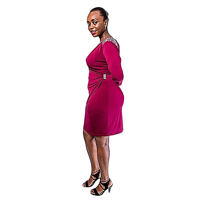 754280e42e Generic Plus Size Wrap Around Stretch Dress with Shoulder Embellishment –  Maroon