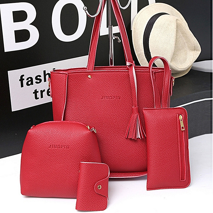 ... singedanFour Set Handbag Shoulder Bags Four Pieces Tote Bag Crossbody  Wallet Bags RD -Red - 431223208a