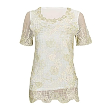 White Chiffon Lace Shirt Top With Beading Embroidery