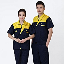 Summer Machinery Factory Workshop Auto Car Repair Engineering Service Labor Insurance Clothing Set-Yellow