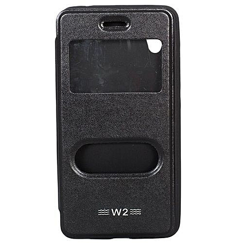 Double Window Tecno W2- Flip Cover - Black