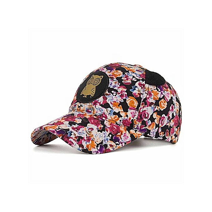 7fc3a56c8c1 Generic Women Owl Floral Printing Baseball Cap Snapback Sun Hat Flat ...