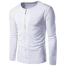 Fashion Personality Men Zipper Casual Slim Cotton Long-sleeved Shirt Top Blouse - White
