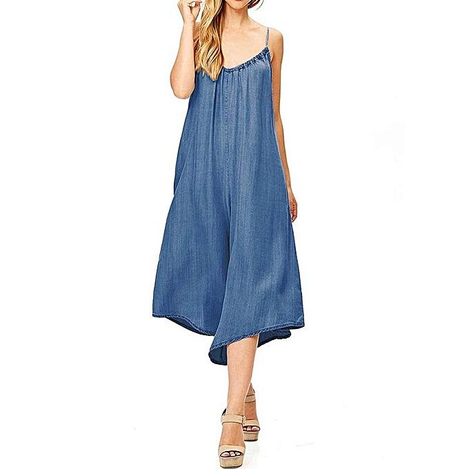 9c77452f57 ... ZANZEA Women Cotton Jumpsuit Playsuit Romper Bib Pants Wide Leg Overalls  ...