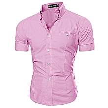 Men's Shirt Short Sleeve Bussiness Lapel Button Down Top Blouse Casual Solid-Pink