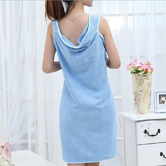 ... Summer Super Soft Women Microfiber Able Wear Bath Robes Towel for Home  Beach blue ... e0084f6c5