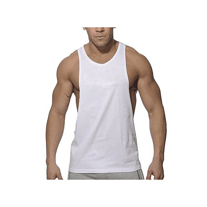 fd57249c089456 Hiaojbk Store Fashion Mens Sleeveless Sport Vest Casual Solid Tank Tops -White