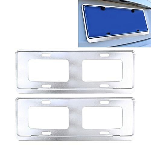 2 Pcs Car License Plate Frames Stainless Steel Frame White