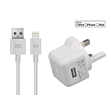 chargMateLT-UK CHARGER: White MFi Certified  2.1A UK Plug Home Charger with 1.5 Meters Lighting Sync & Charge Separate Cable
