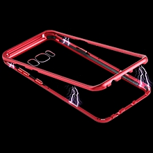 Magnetic Metal Frame Tempered Glass Care for Galaxy S8 (Red)