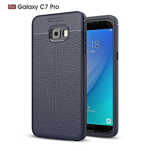 2f515779924 Generic PU Leather Litchi Pattern Case For Samsung Galaxy C7 Pro C7010 Soft  TPU Silicone Back Cover For Samsung C7 Pro Case Cover (Dark blue)